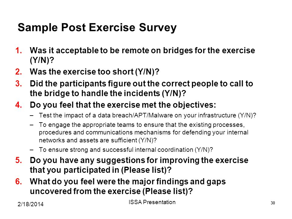 Sample Post Exercise Survey
