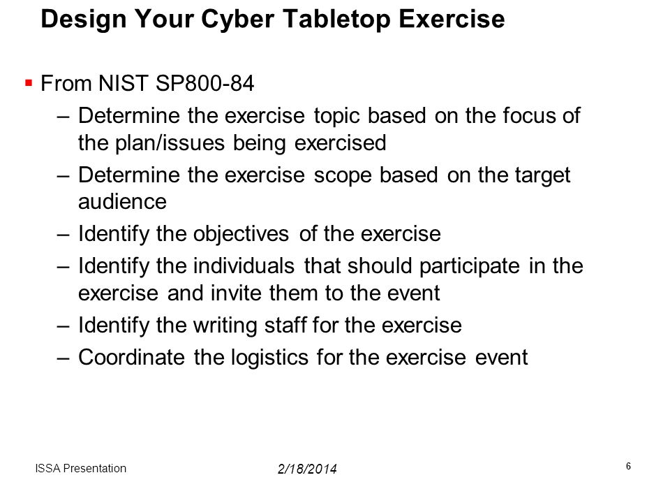 Design Your Cyber Tabletop Exercise