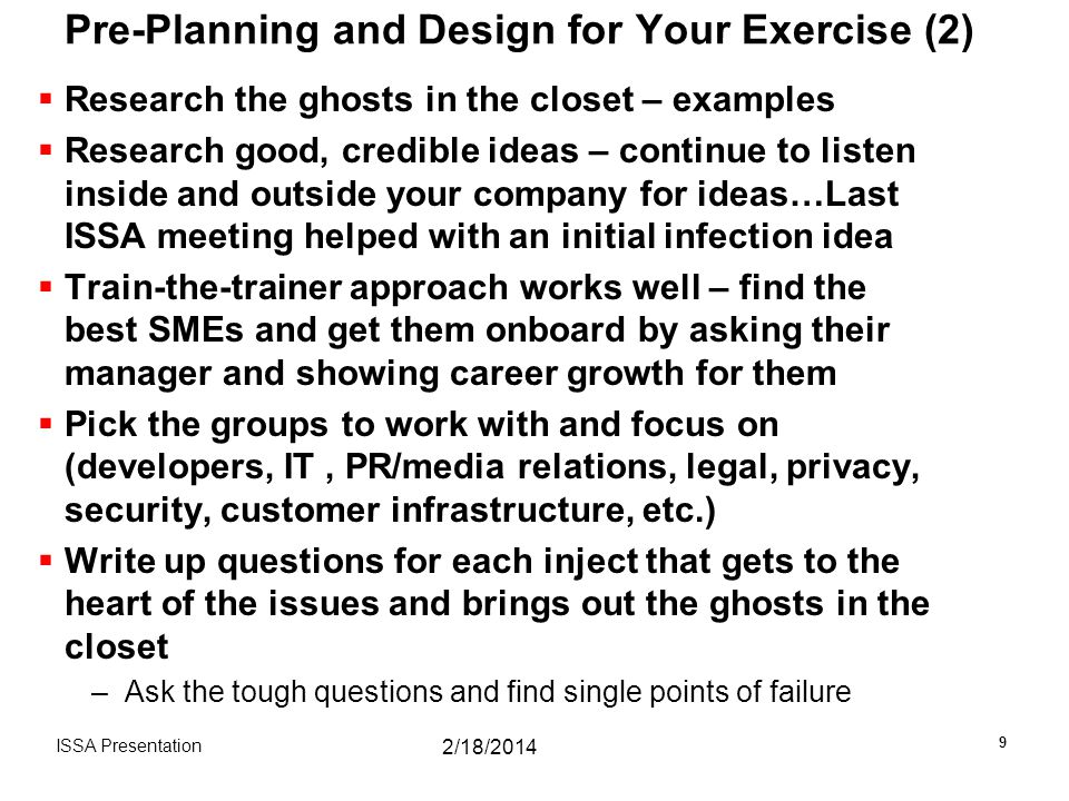 Pre-Planning and Design for Your Exercise (2)