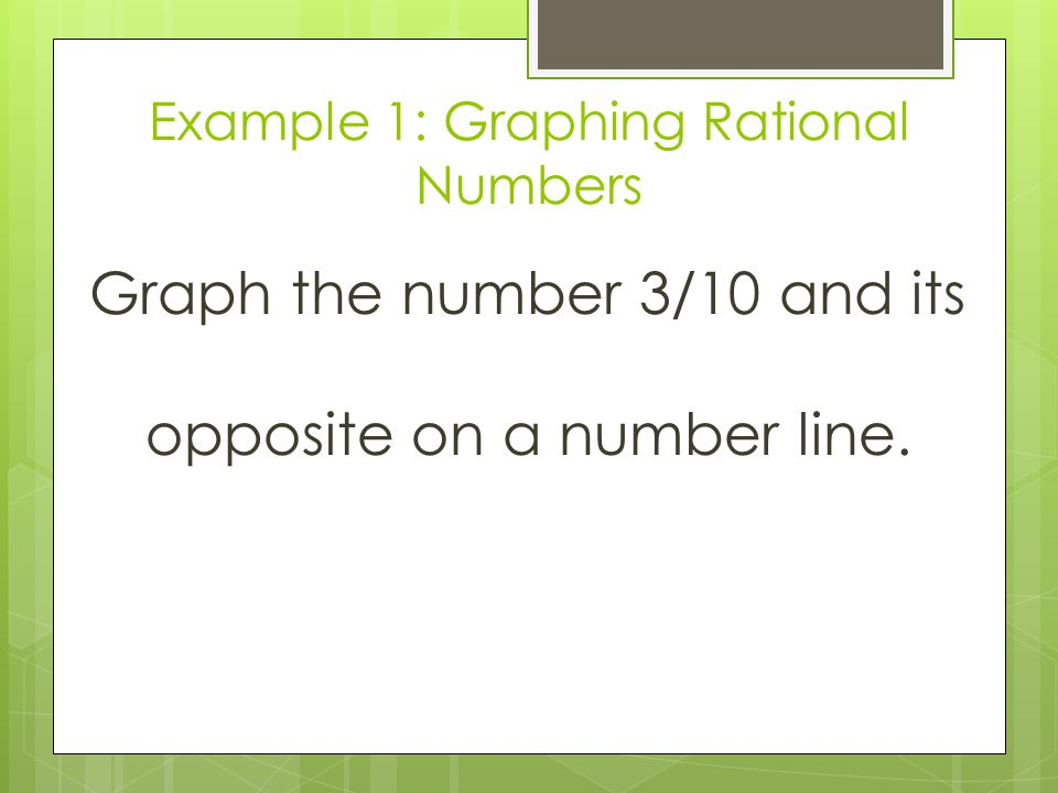 Example 1: Graphing Rational Numbers