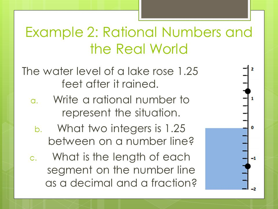 Example 2: Rational Numbers and the Real World