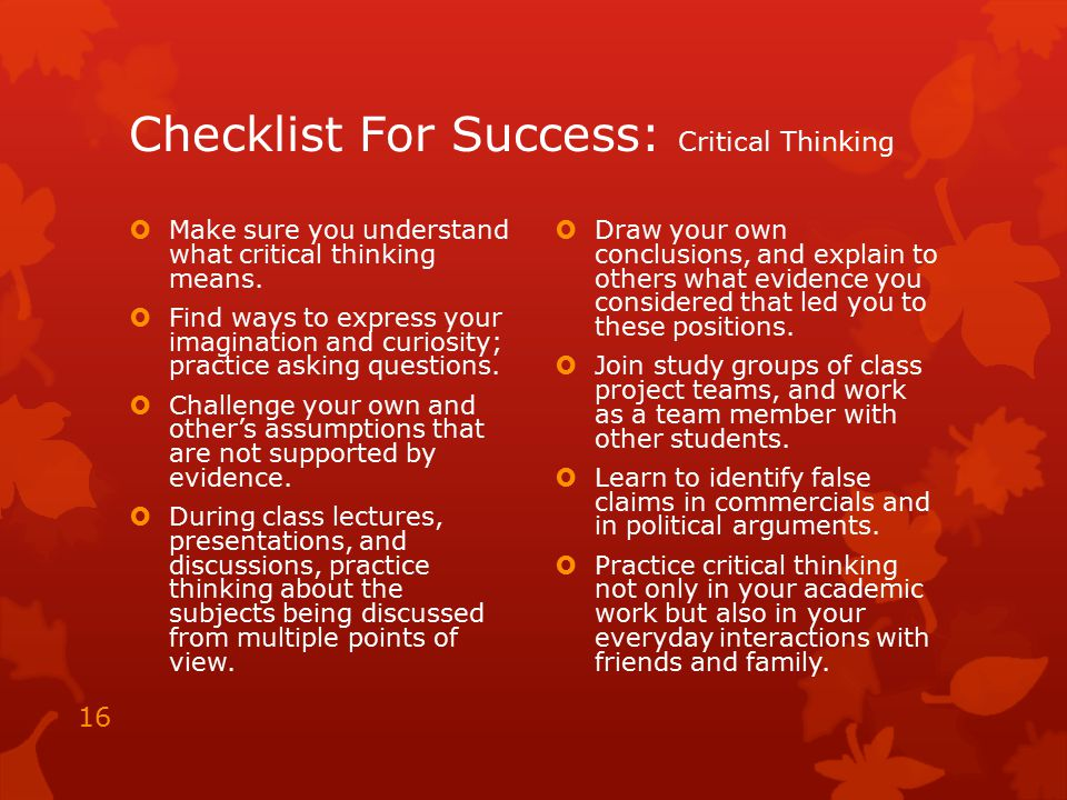 Checklist For Success: Critical Thinking