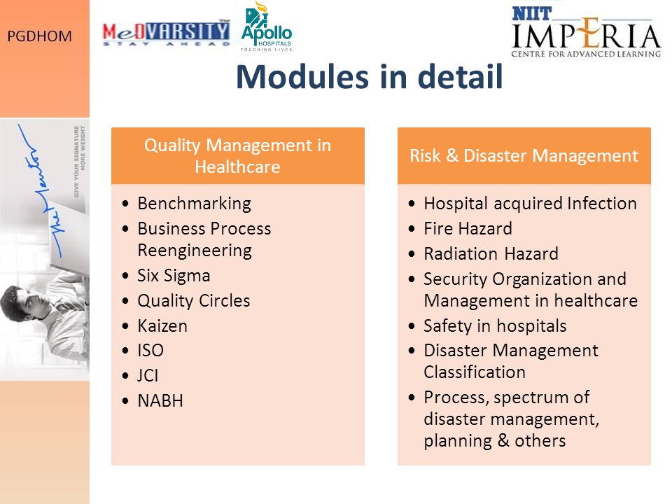 Modules in detail Quality Management in Healthcare Benchmarking