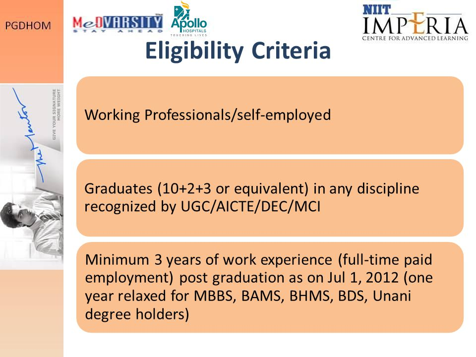 Eligibility Criteria Working Professionals/self-employed