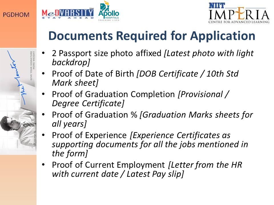 Documents Required for Application