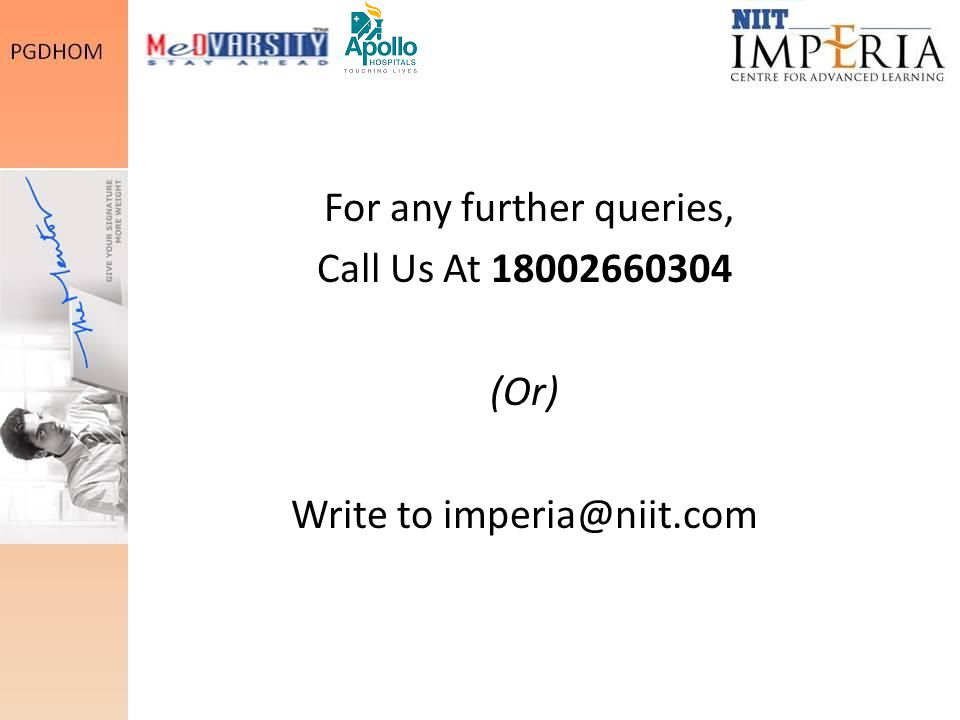 For any further queries, Call Us At 18002660304 (Or) Write to imperia@niit.com
