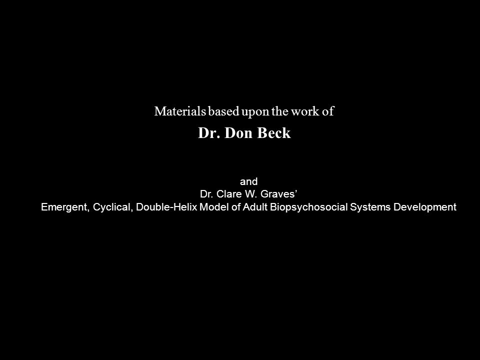 Materials based upon the work of Dr. Don Beck