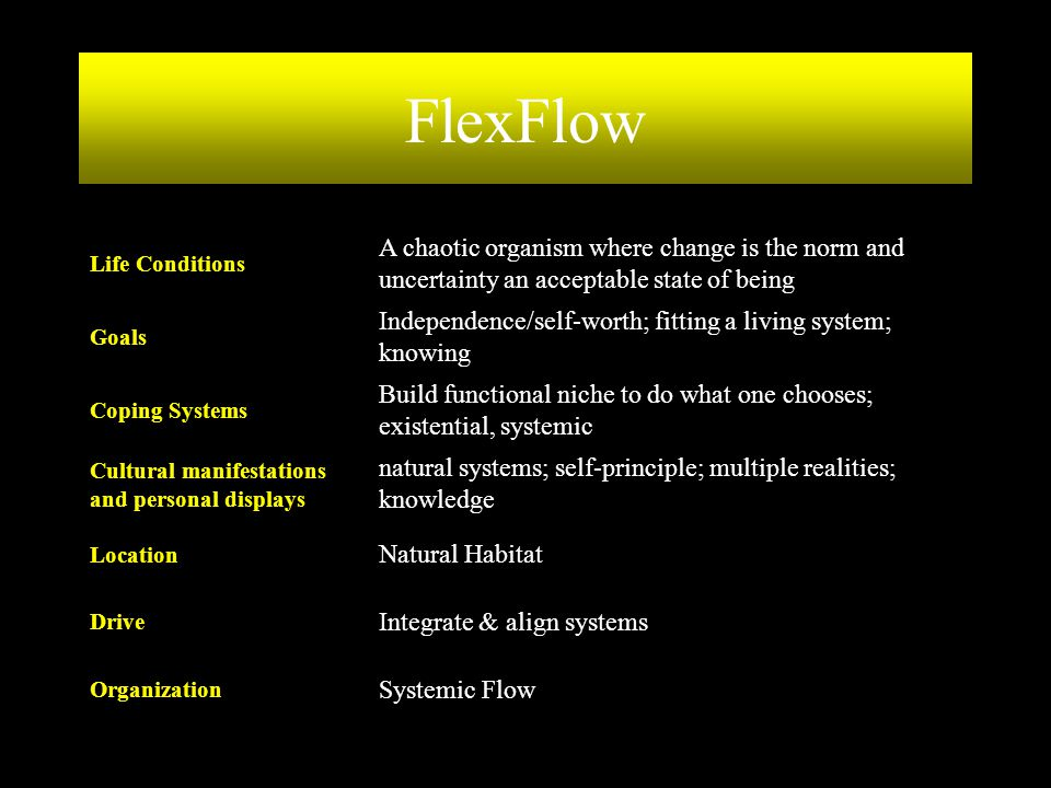 FlexFlow Systemic Flow. Organization. Integrate & align systems. Drive. Natural Habitat. Location.
