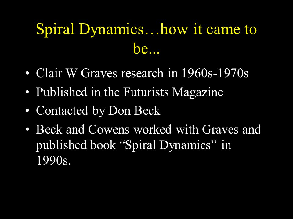 Spiral Dynamics…how it came to be...