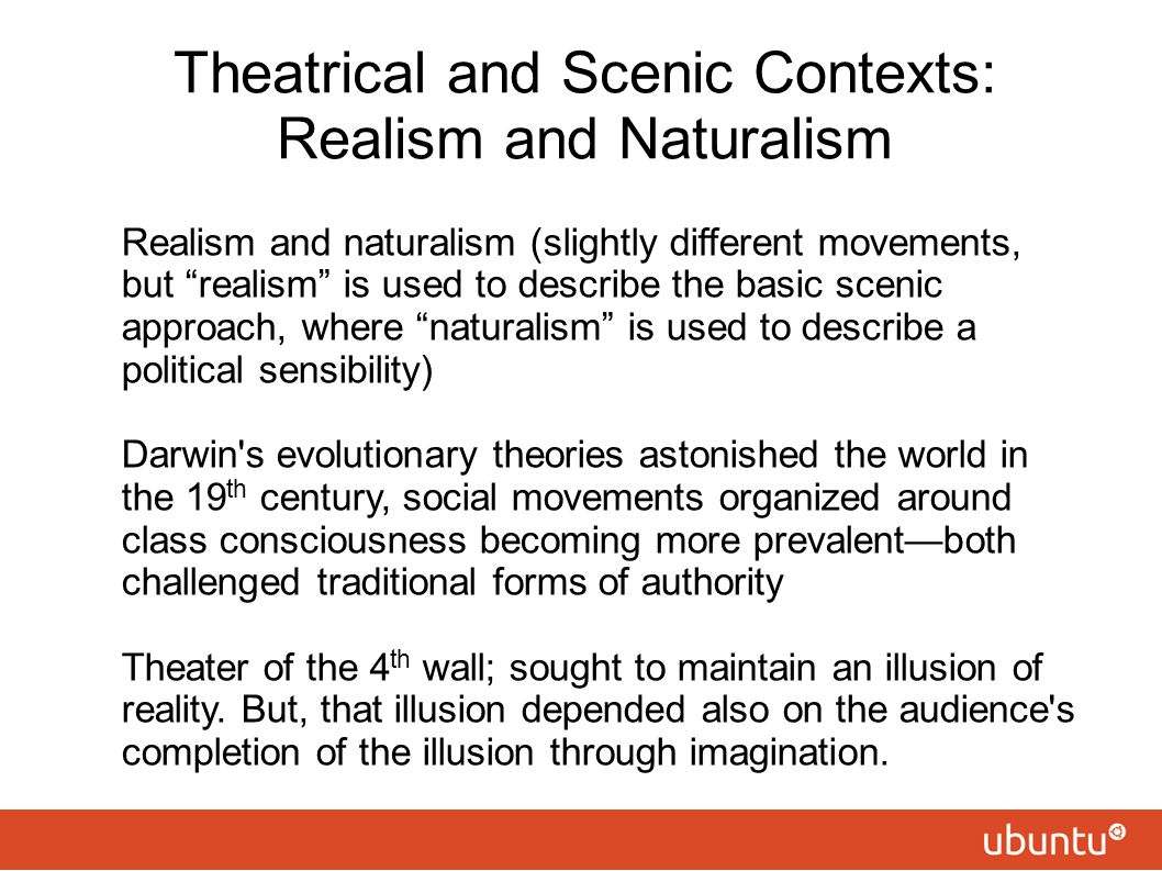 Theatrical and Scenic Contexts: Realism and Naturalism