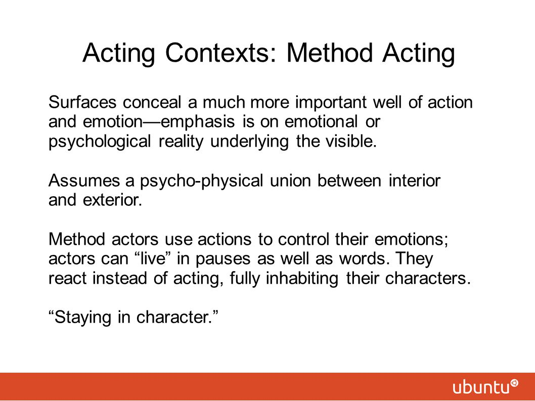 Acting Contexts: Method Acting