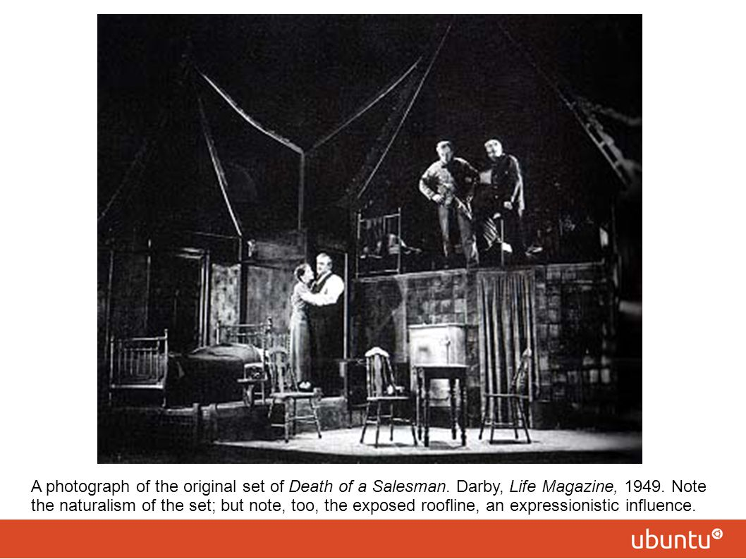 A photograph of the original set of Death of a Salesman