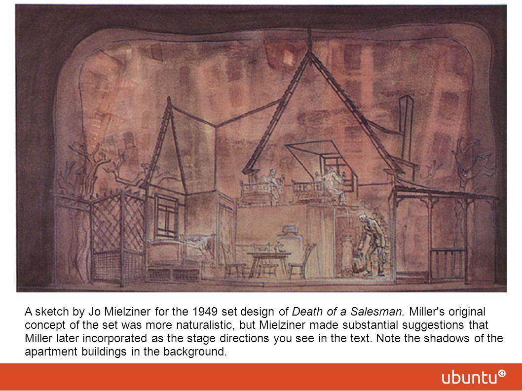 A sketch by Jo Mielziner for the 1949 set design of Death of a Salesman.