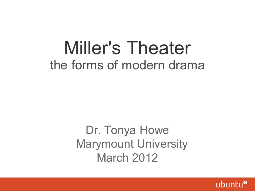 Miller s Theater the forms of modern drama