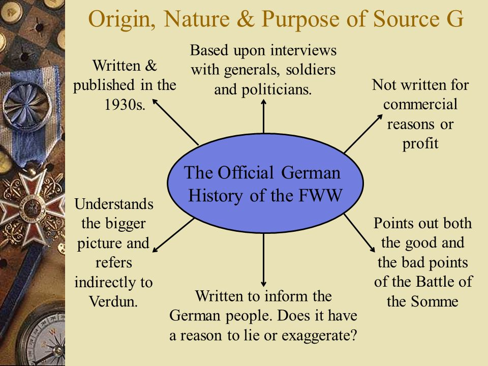 Origin, Nature & Purpose of Source G