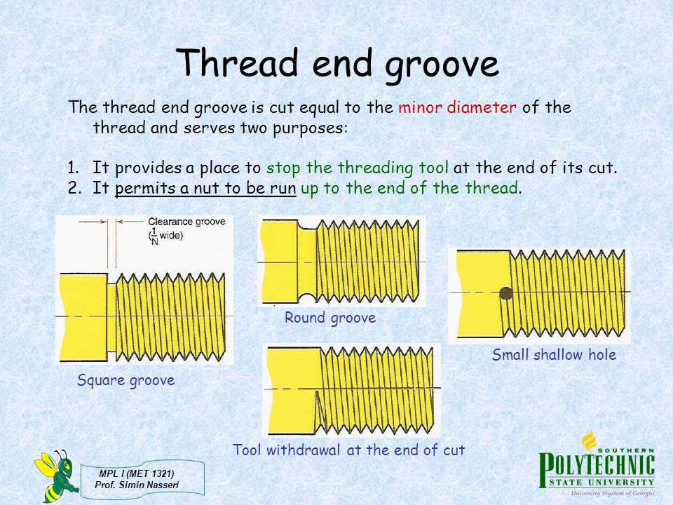 Thread end groove The thread end groove is cut equal to the minor diameter of the thread and serves two purposes: