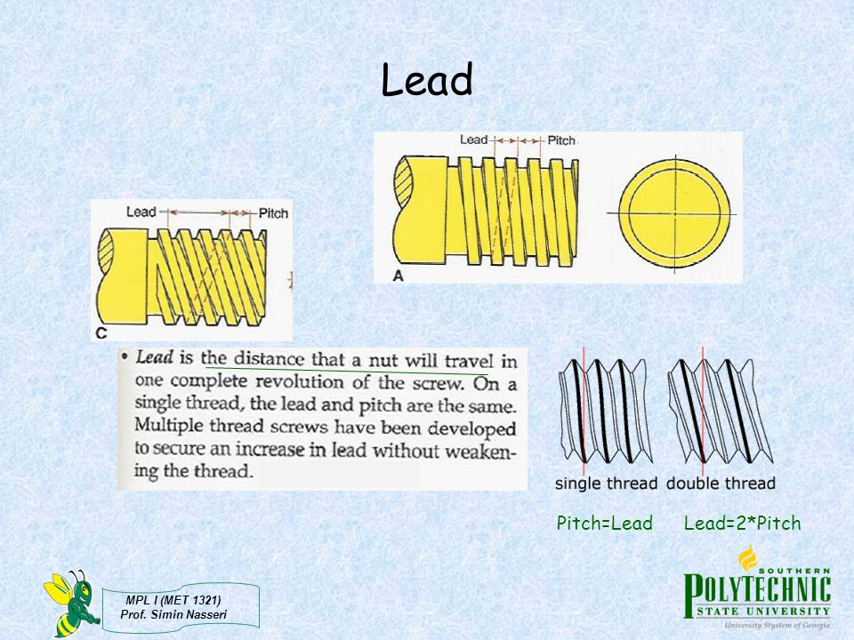 Lead Pitch=Lead Lead=2*Pitch