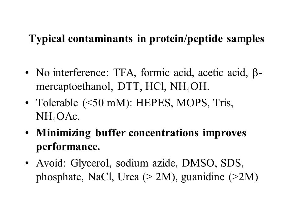 Typical contaminants in protein/peptide samples