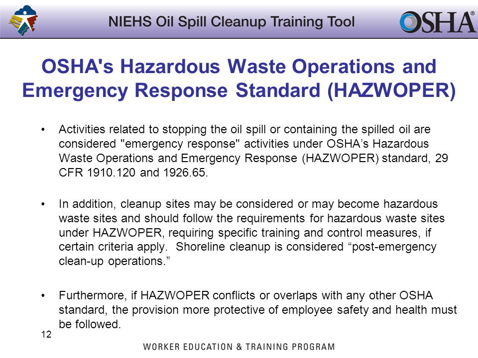 OSHA s Hazardous Waste Operations and Emergency Response Standard (HAZWOPER)