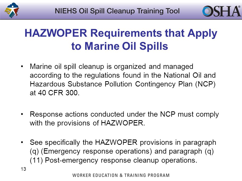 HAZWOPER Requirements that Apply to Marine Oil Spills