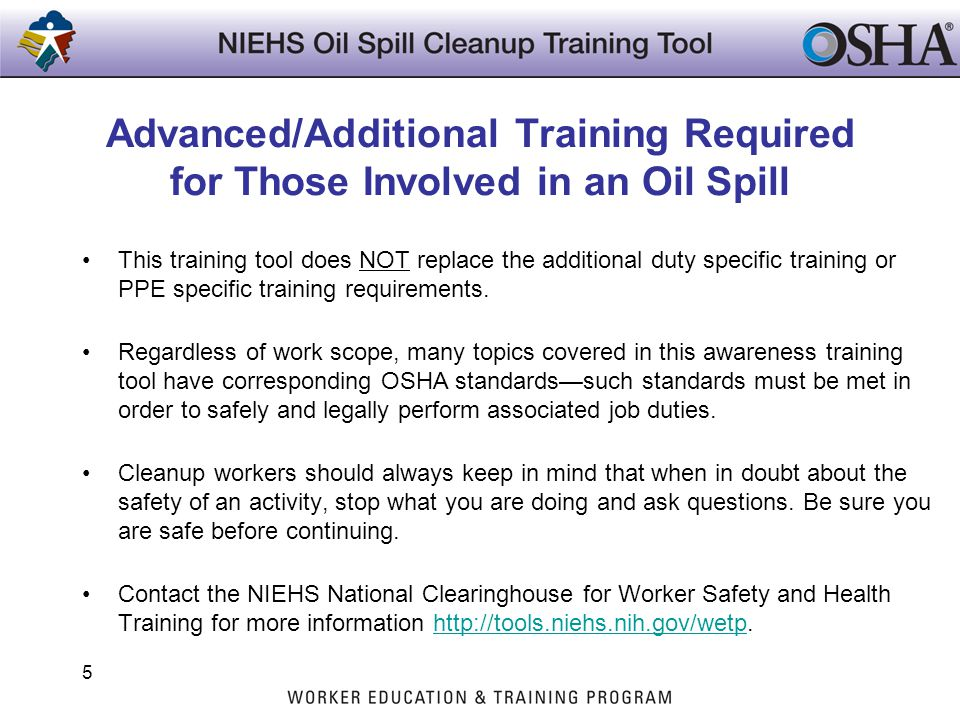 Advanced/Additional Training Required for Those Involved in an Oil Spill