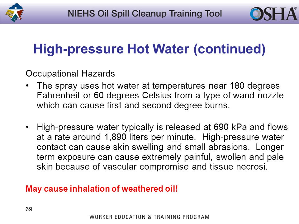 High-pressure Hot Water (continued)