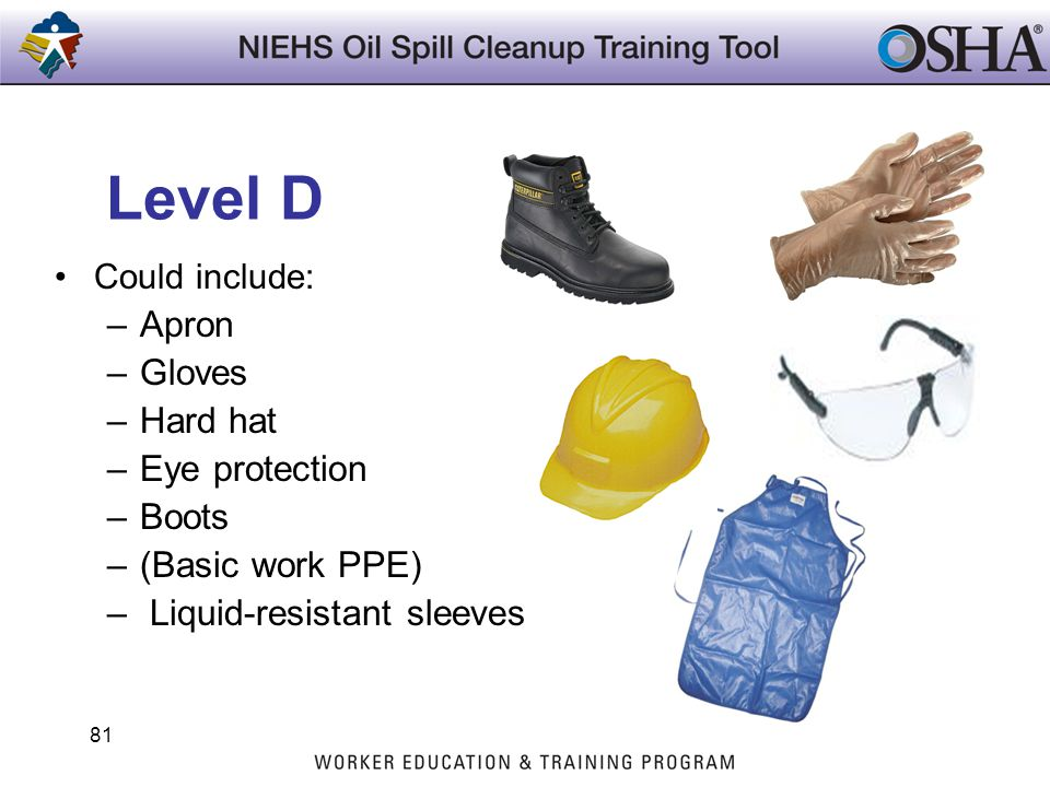 Level D Apron Gloves Hard hat Eye protection Boots (Basic work PPE)