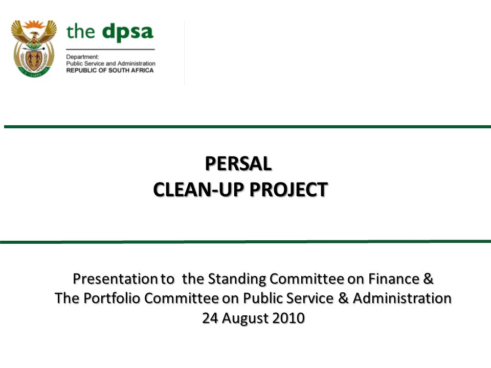 PERSAL CLEAN-UP PROJECT