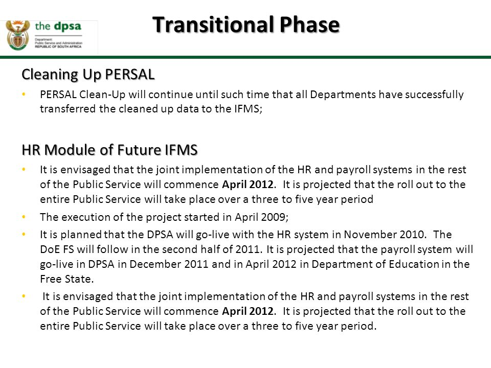 Transitional Phase Cleaning Up PERSAL HR Module of Future IFMS