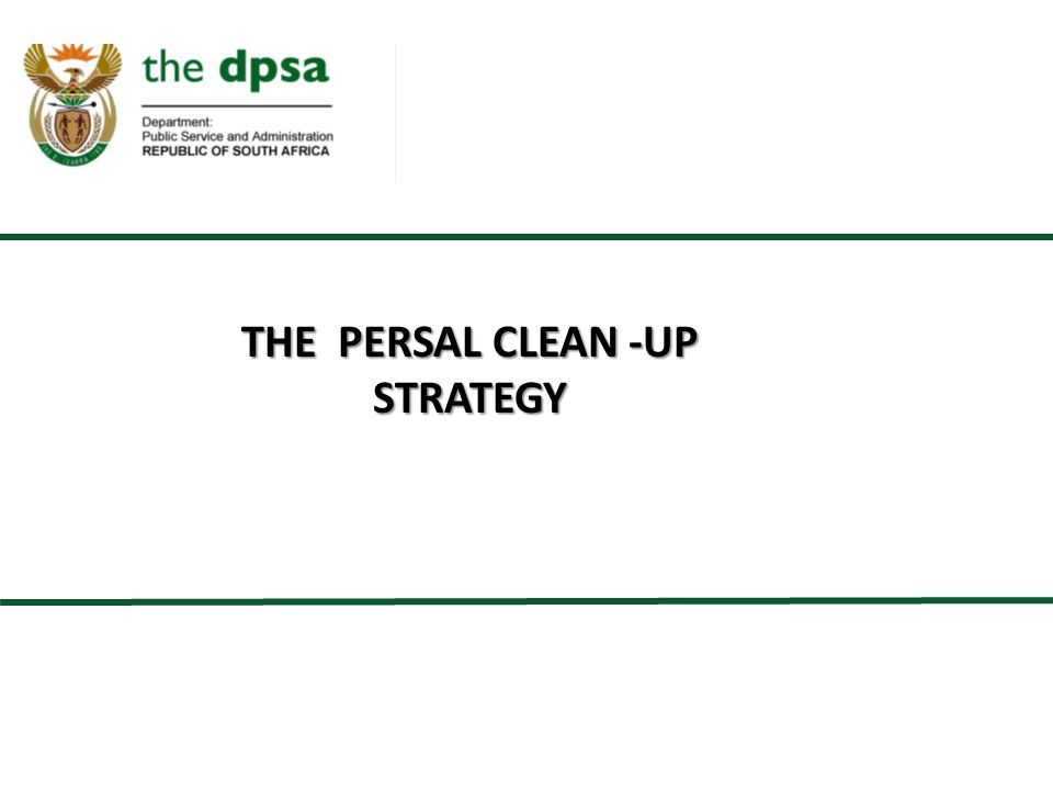THE PERSAL CLEAN -UP STRATEGY