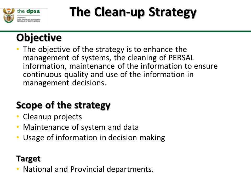 The Clean-up Strategy Objective Scope of the strategy Target