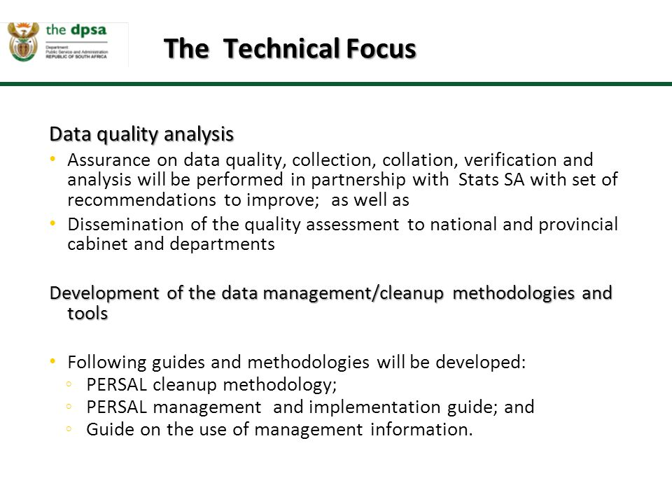 The Technical Focus Data quality analysis