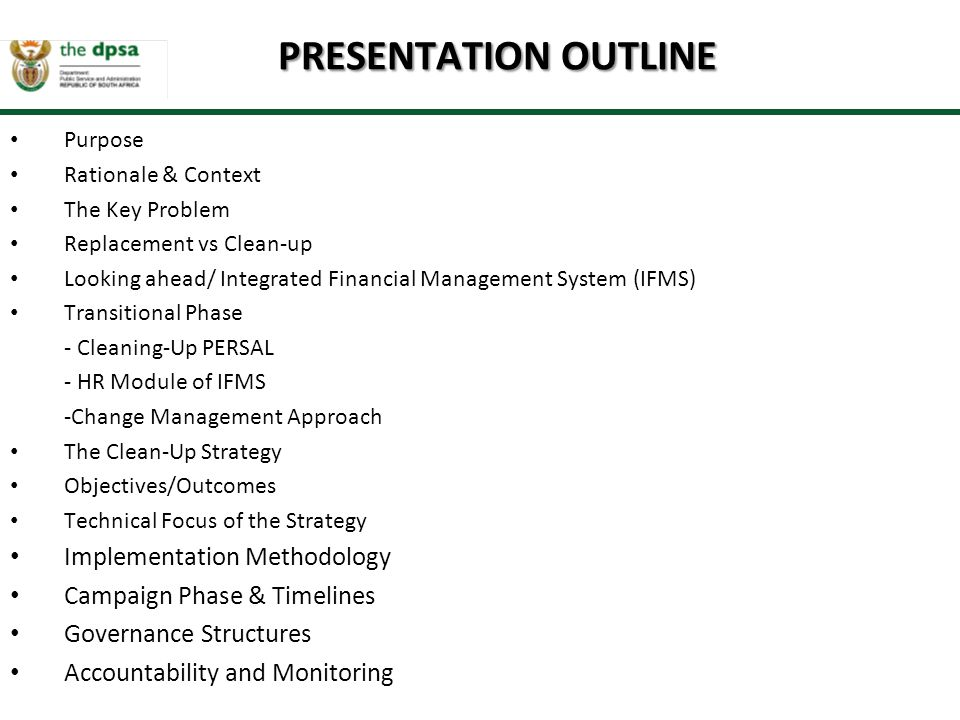 PRESENTATION OUTLINE Implementation Methodology