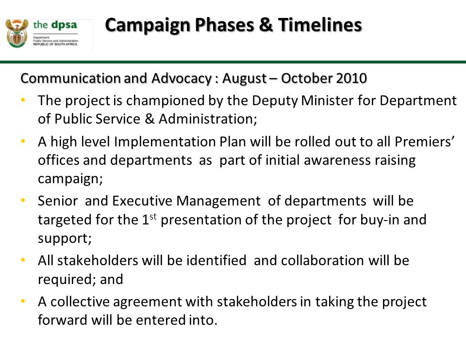 Campaign Phases & Timelines