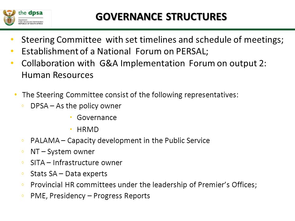 GOVERNANCE STRUCTURES