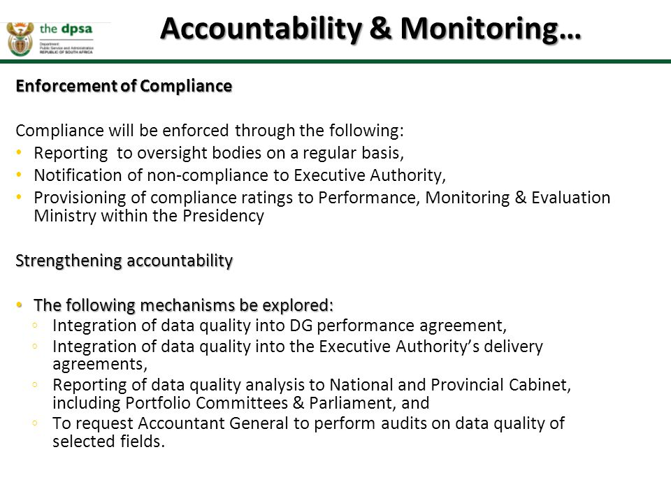 Accountability & Monitoring…