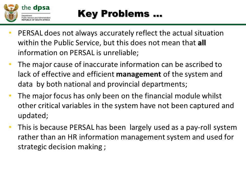 Key Problems …