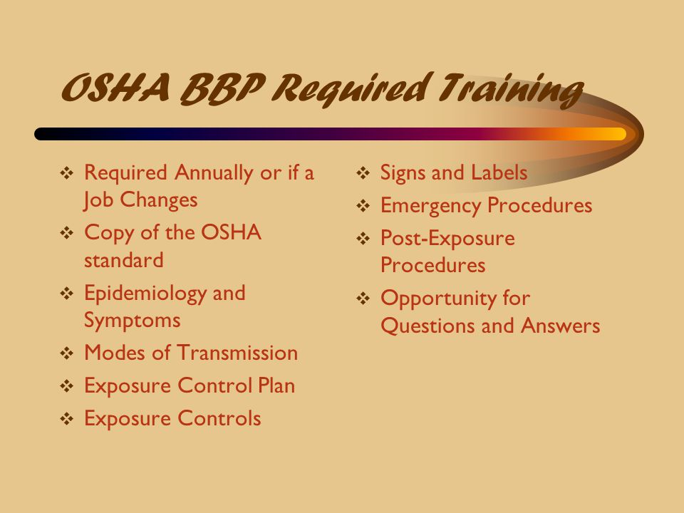 OSHA BBP Required Training