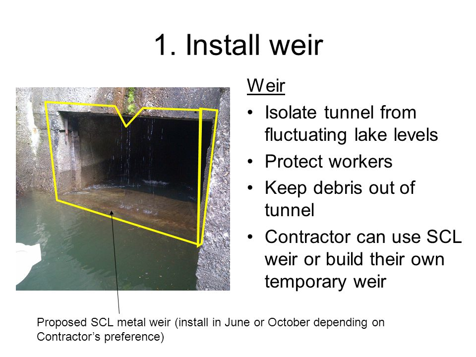 1. Install weir Weir Isolate tunnel from fluctuating lake levels