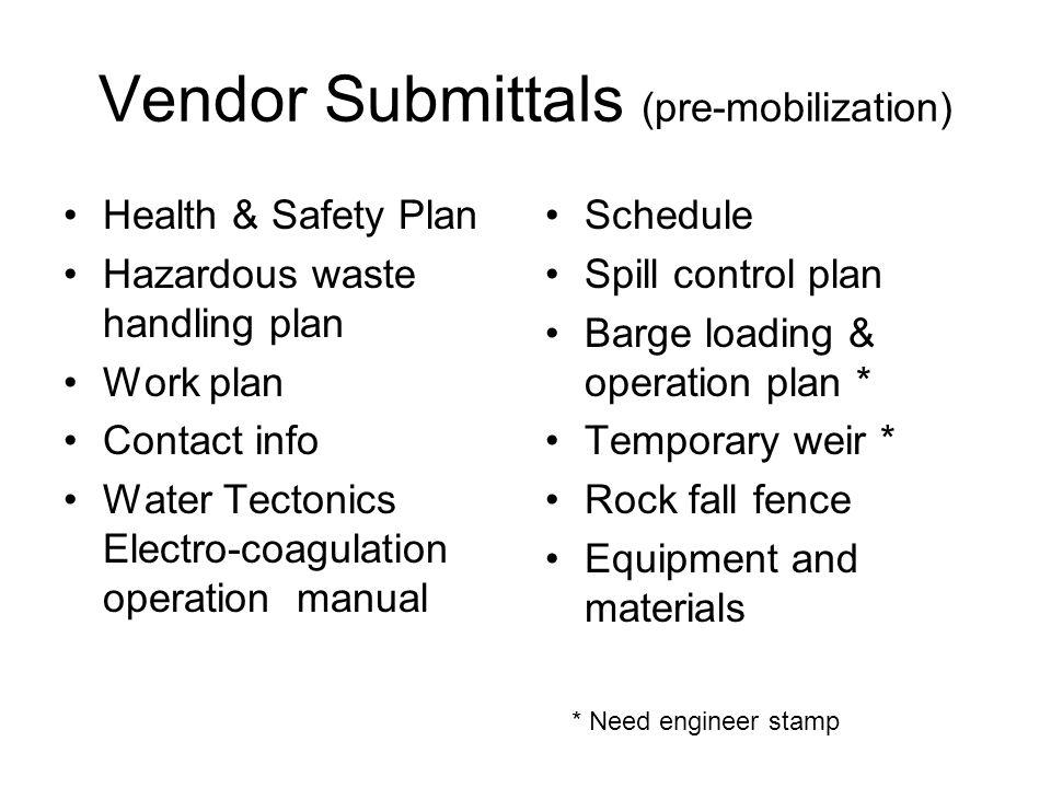Vendor Submittals (pre-mobilization)