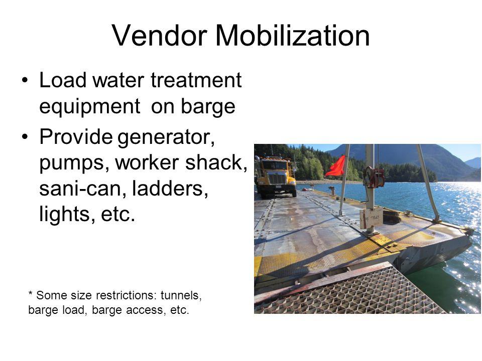 Vendor Mobilization Load water treatment equipment on barge