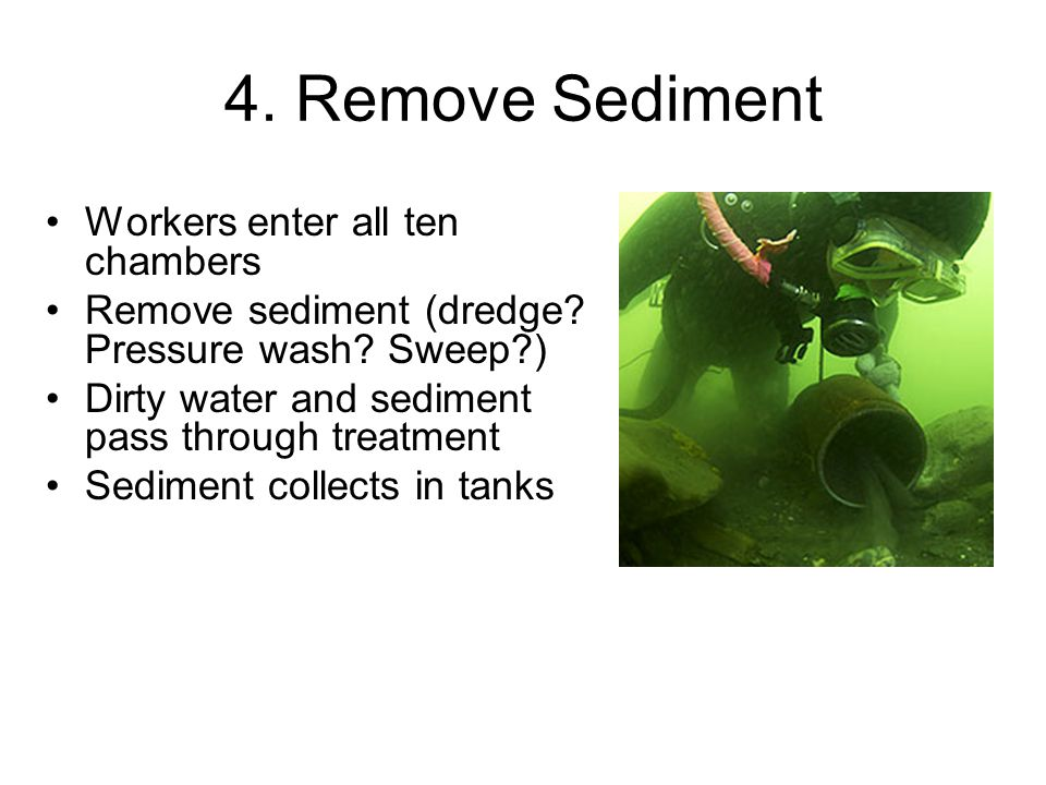 4. Remove Sediment Workers enter all ten chambers