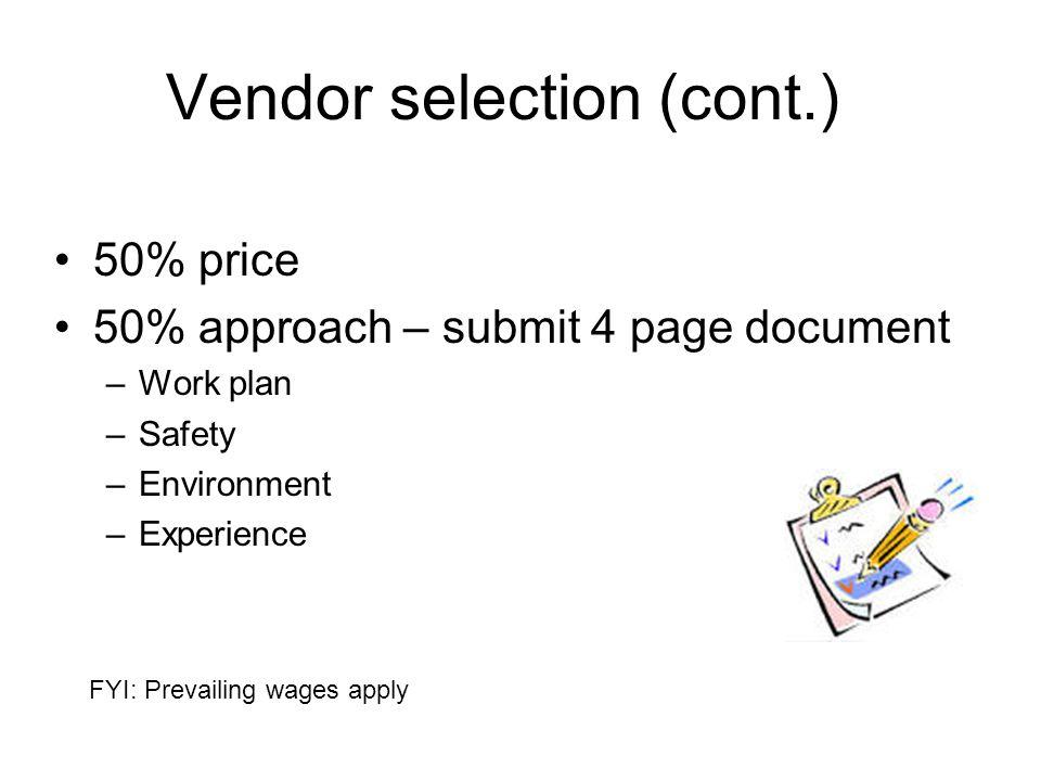 Vendor selection (cont.)
