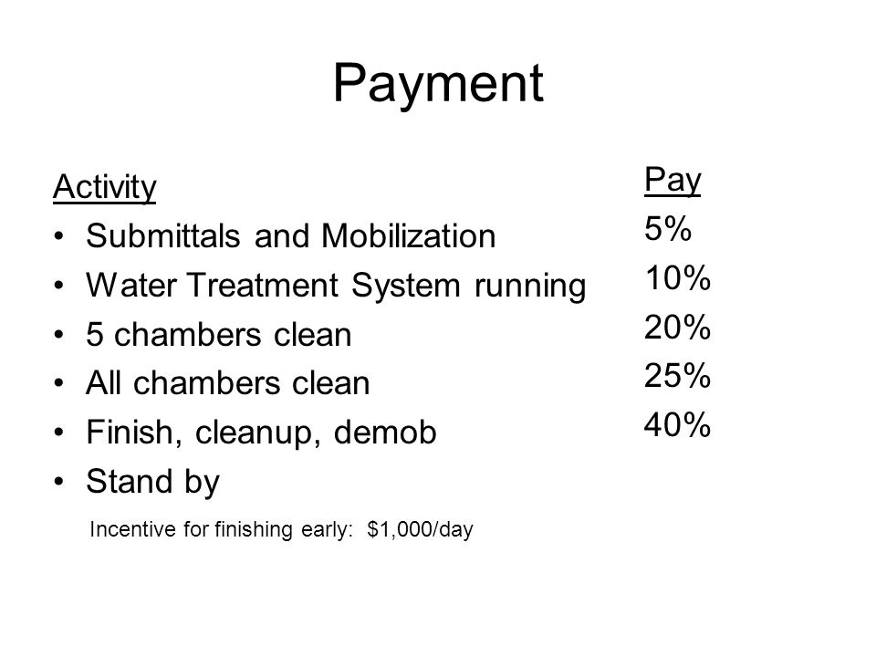 Payment Pay Activity 5% Submittals and Mobilization 10%