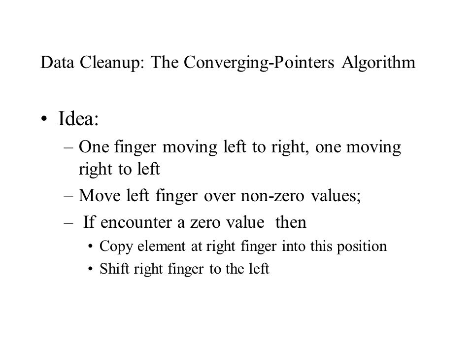 Data Cleanup: The Converging-Pointers Algorithm