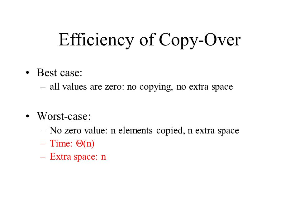 Efficiency of Copy-Over