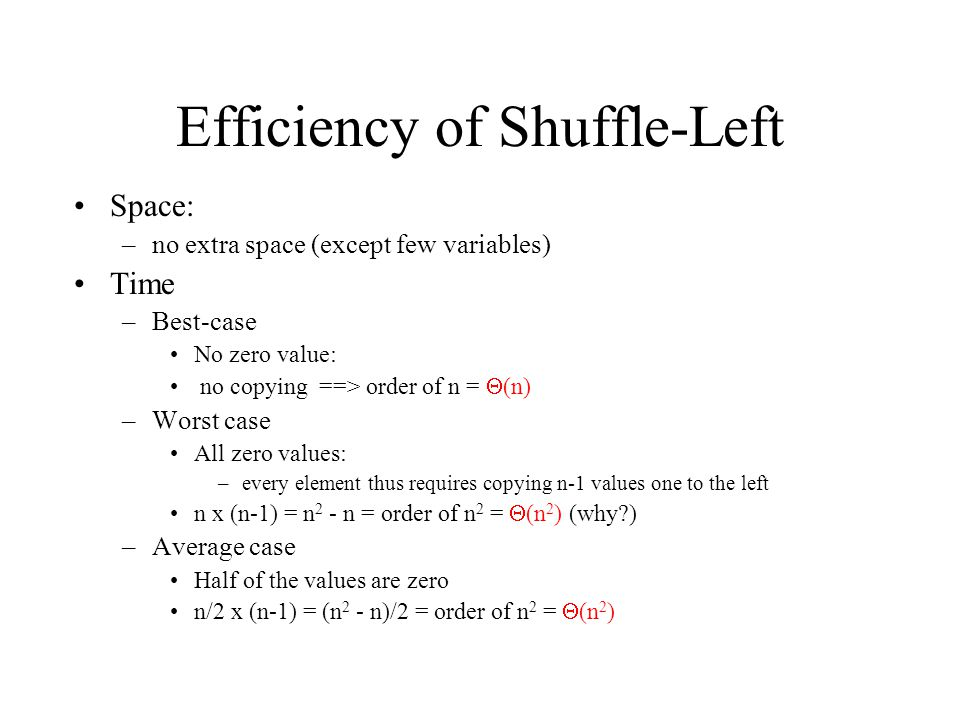 Efficiency of Shuffle-Left