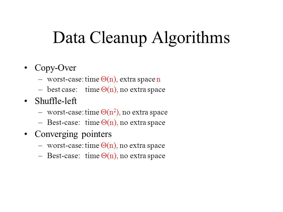 Data Cleanup Algorithms