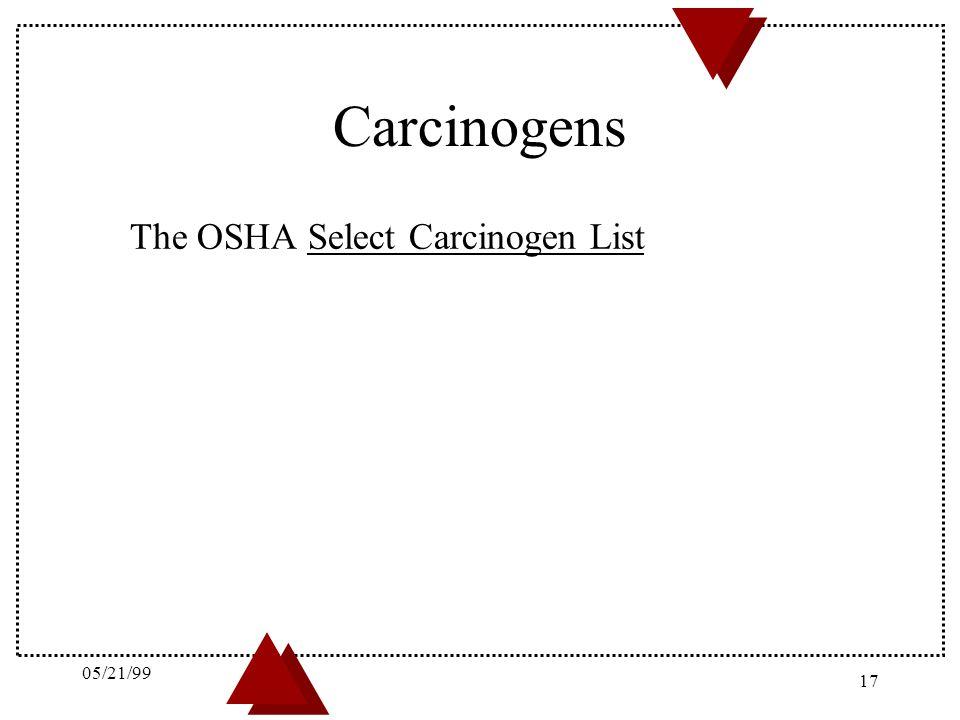 05/21/99 Carcinogens The OSHA Select Carcinogen List 05/21/99 17 20