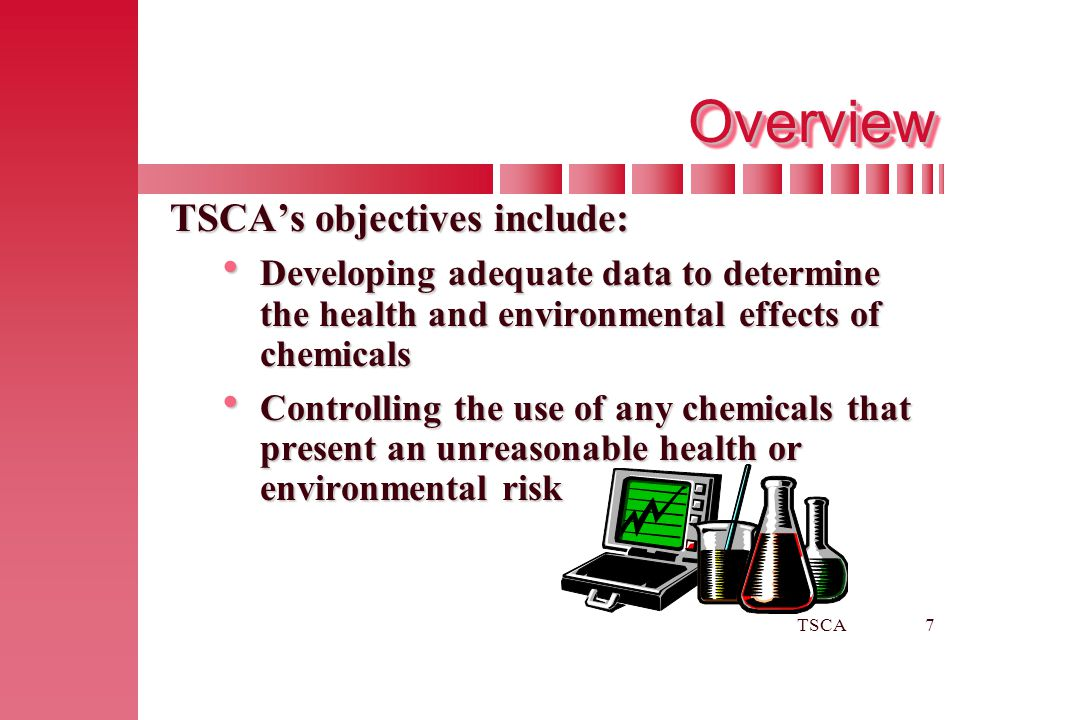 Overview TSCA's objectives include: